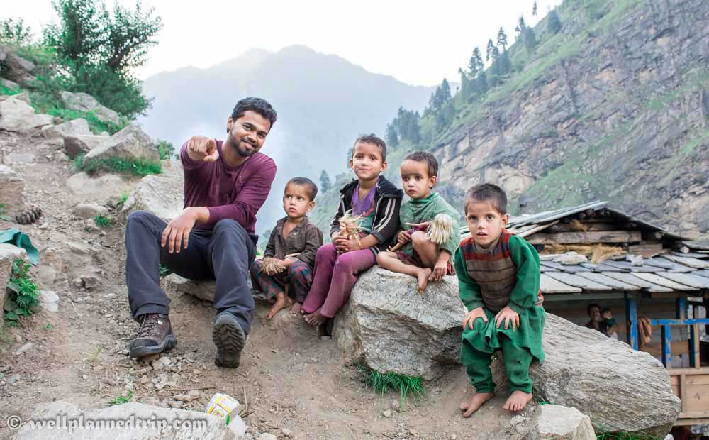 With Cute Kids from the Village duringRUPIN PASS TREK