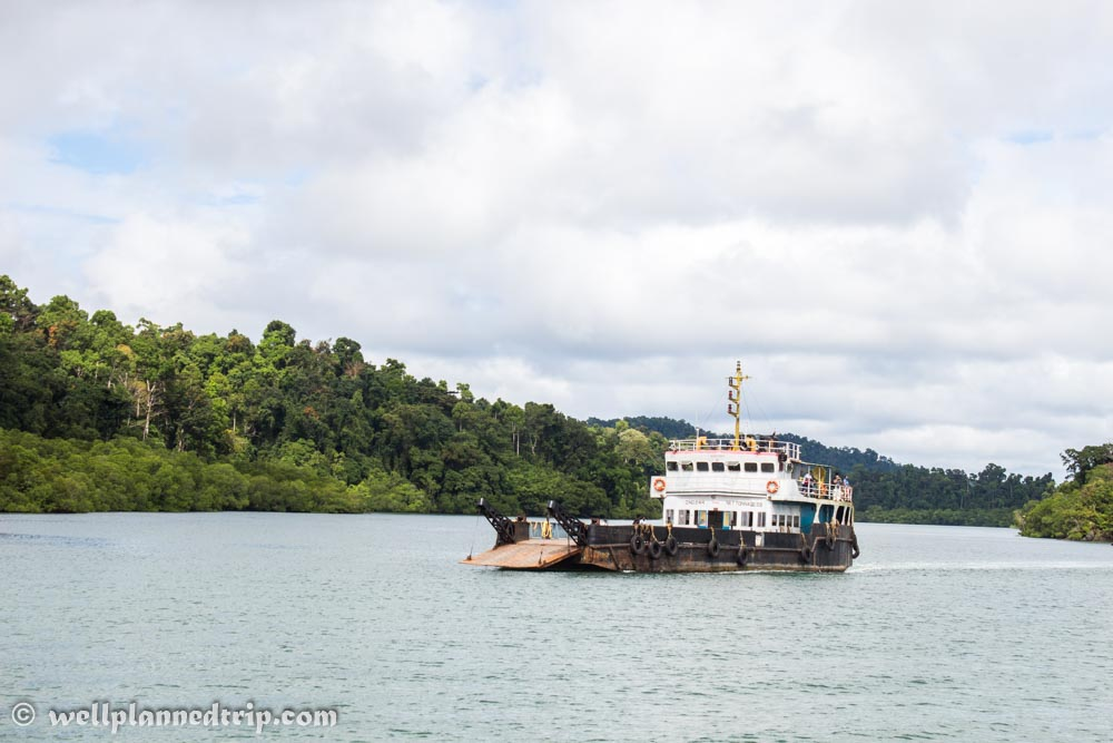 Ships carrying vehicles and people across small islands. During journey to Baratang.
