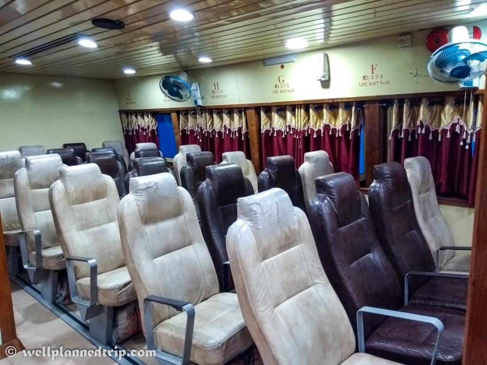 Economy seats, Green ocean, Andaman Ferry service