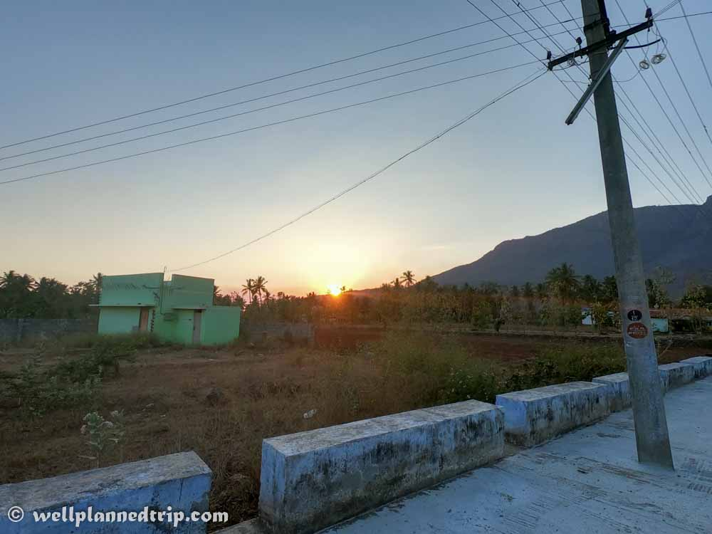 Sunset view, as we start riding up to Yercaud