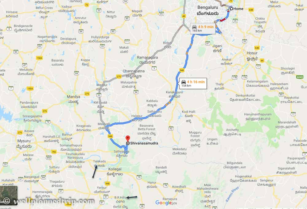 Which route is best to reach Sivanasamudra falls from Bangalore?