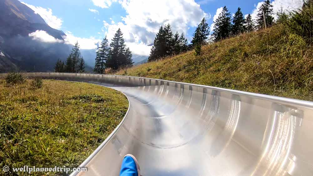 Kandersteg Mountain coaster ride Kandersteg pipe ride Switzerland