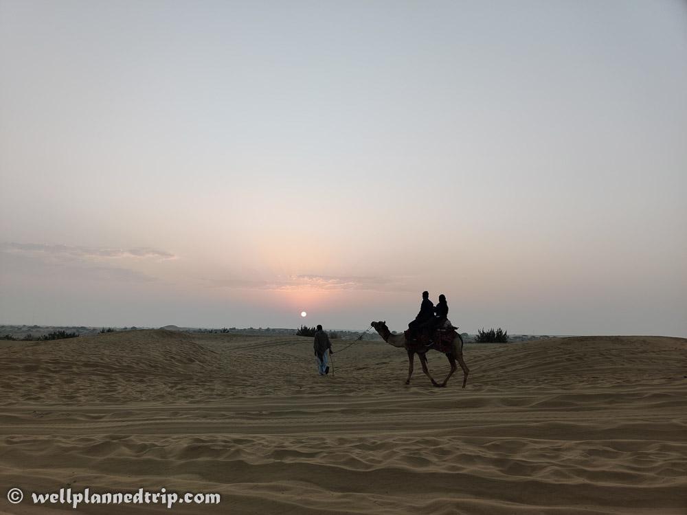 Sun rise camel safari, Sam sand dunes, Jaisalmer, Rajasthan