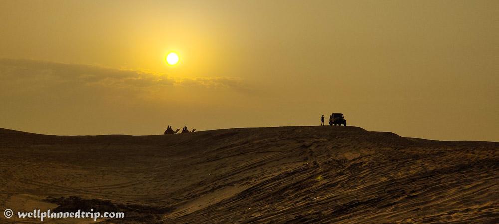 Sun rise camel & jeep safari, Sam sand dunes, Jaisalmer, Rajasthan