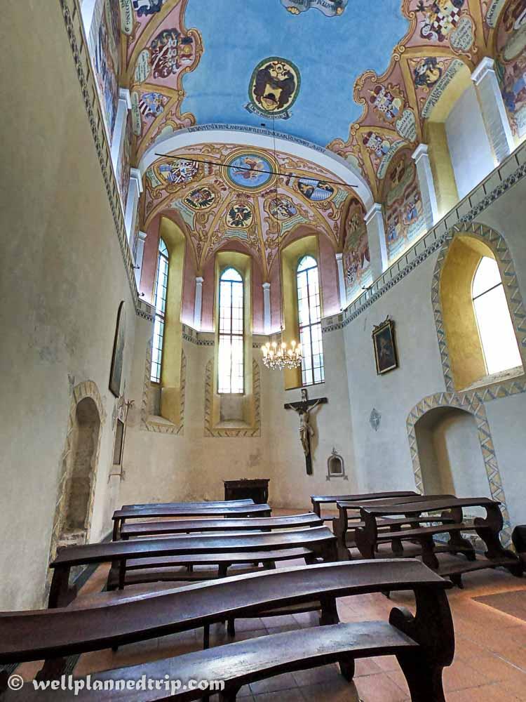 Interior view of church inside Ljubljana Castle, Slovenia