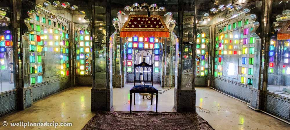 Glass decorated rooms, City palace, udaipur, Rajasthan