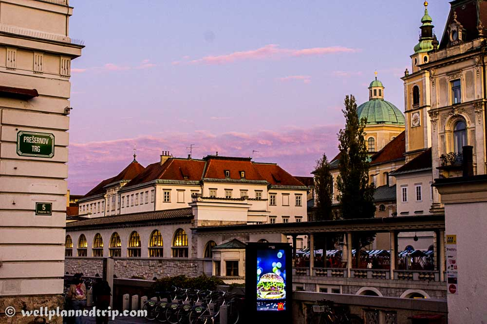 View of Ljubljana city, Slovenia in evening