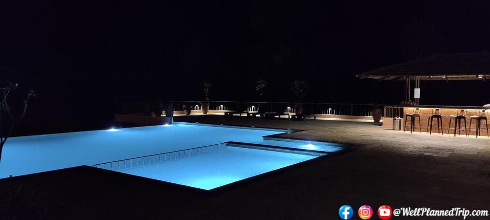 Night view of Swimming Pool, Machaan resort, Sakleshpur
