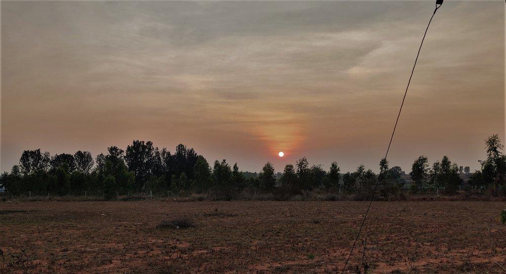 Sunset view just before reaching Windflower Prakruthi Resort & Spa, Bangalore